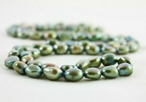 Sage Green Freshwater Pearl Necklace, Baroque Pearls, Real Pearl Necklace