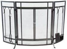 50 in. Fireplace Screen Curved 3-Panel w/ Shovel, Tong and Poker, Vintage Iron