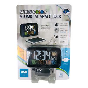 NEW La Crosse Technology Multi-Color Atomic Alarm Clock USB Charging Port