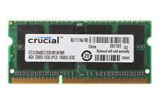 Crucial Memory 4GB 4 G 2RX8 PC3-10600S 10600 DDR3 1333Mhz 1.5V SODIMM Laptop RAM