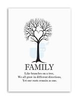FAMILY ROOTS BW HEART TREE Picture Typography Quote Canvas art Prints