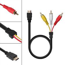 HDMI Auf 3x RCA RGB Adapter Cinch Kabel 1.5m Video TV  Scartstecker Neu~