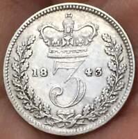 1843 Great Britain 3 Pence  .925 Silver  Queen Victoria ***XF** RARE COIN