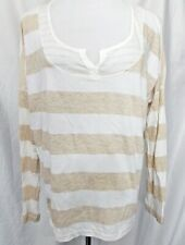 Splendid Top Striped Rugby Stripes 3/4 Sleeve Tan White T-Shirt size Large