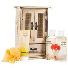 Sweet Garden -Bath and body gift set - display in natural wood curio- Shower gel