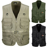 Men Multi Pocket Waistcoat Safari Gilet Jacket Fishing Hunting Hiking Gilet Vest