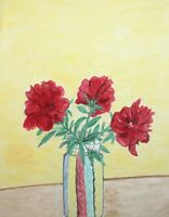 Vintage watercolor drawing still life with flowers