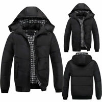 Men Padded Full Zip Hooded Coat Puffer Quilted Jacket Winter Warm Bomber Outwear