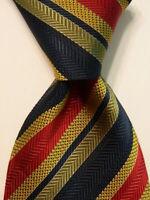 CHRISTIAN AUJARD Men's Silk Necktie ITALY Designer STRIPED Blue/Red/Yellow EUC
