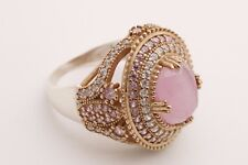 Turkish Hurrem Jewelry Oval Pink Cat's Topaz 925 Sterling Silver Ring Size 10