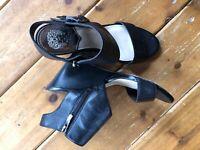 Vince Camuto  8 Black Leather Sandals Women's Heels