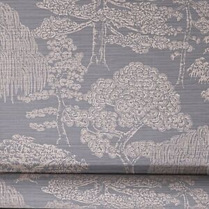 Arthouse Orient Forest Charcoal Grey Rose Gold Textured Vinyl Wallpaper 298003