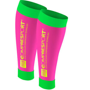 Compressport CALF R2 Fluo (Race & Recovery) pink/green. MADE IN Switzerland!