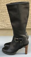 NARA Black Leather Knee-High Victoria Boots Made in Italy Women's Sz 9