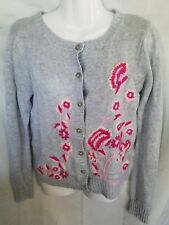 Old Navy Women's Small Cardigan Gray Floral Button Front Sweater Embroidered   C