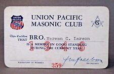 1946 UNION PACIFIC MASONIC CLUB membership card Railway Railroad train