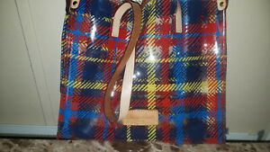 Dooney and Bourke Clear, Red, Yellow & Blue Vinyl Tote Leather Handles