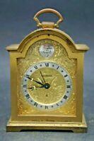 Horloge Réveil De Table Bronze Doré Swiza 8 Tempus Fugit Swiss Made