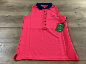 Skechers Sleeveless Racer Polo Pink Womens Size Small ( CWTT01 )