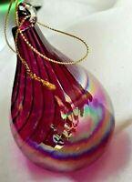 "Gorgeous Purple Iridescent Hand Blown Glass Teardrop Xmas Ornament 5.11""H X 3"" W"