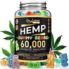 60,000 Mg Hemp Gummies for Pain & Anxiety Fruity Gummy Bears with Hemp Oil 120Ct