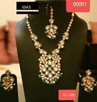Gold Plated Bridal Kundan Bollywood Ethnic Necklace Earrings Tikka Jewelry Set