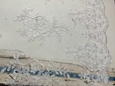 White Flower Embroider And Corded Lace. Wedding - Bridal Fabric Lace.