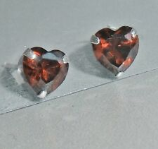 Ohrringe Damen Ohrstecker 925 Sterling Silber Zirkonia rot Herz Herzchen + Etui