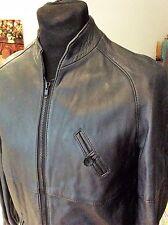 "vintage 1970's blue/black leather zipper bomber jacket ~ M 36-38"""