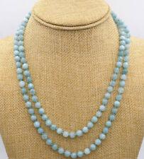 "33"" Long Genuine Natural 8mm Blue Brazil Aquamarine Beads Jewelry Necklace JN928"