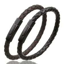Leather Bracelet Braided Vintage Clasp Stainless Steel Real Unisex