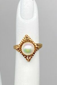 Antique 1940s RETRO 7mm Cultured Pearl 10k Yellow Gold Ring