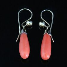 ANTIQUE VICTORIAN 18CT CORAL DROP EARRINGS CIRCA 1900