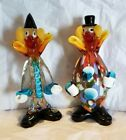2 Vintage MURANO Art Glass CLOWN Figurines Made in Italy Circus