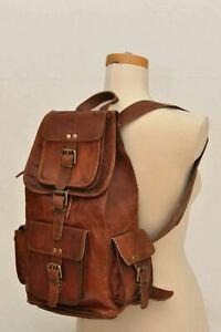 Rucksack Bag New Vintage Genuine Leather Laptop Messenger Bag Satchel Backpack
