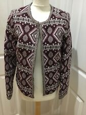 Very Size 12 Aztec Tribal Patterned Print Purple Mauve Style Woven Lined Jacket