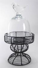 """Round Glass Dome Cloche  Bird Top with Metal Wire Stand 10.75"""" Tall Pastry Stand"""