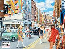 Carnaby Street, 1960's London City Retro British Cars Mods, Small Metal/Tin Sign