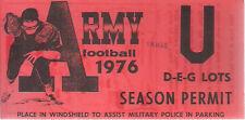 ARMY FOOTBALL 1976 SEASON PERMIT Parking Permit