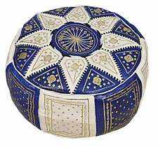 Moroccan Pouf Ottoman Leather Blue - Unstuffed -Handmade Embroidered - FREE SHIP