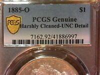 UNITED STATES 1885 O PCGS GENUINE GOLD SHIELD MORGAN SILVER DOLLAR/UNC DETAIL