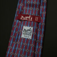 Vintage Hermes Paris Made In France Red Chain Pattern Silk Tie 890 PA