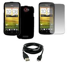 "EMPIRE HTC One S Rubberized Case Cover (Black) + 8"" USB 2.0 Data Cable + Screen"