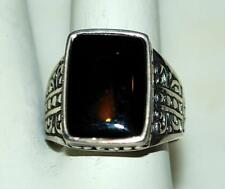 925 STERLING SILVER RECTANGLE BLACK ONYX SOLITAIRE LADIES RING 7.6 GR SIZE 8 RT6