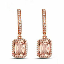 Morganite & Natural Diamond 14k Rose Gold Dangle Earrings