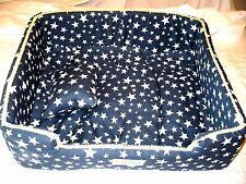 Formay Dog Cat Pet Beds Medium Blue W Stars & Pillow Rectangle 16x15x6 NEW
