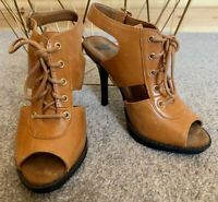 DR MARTENS BROWN LEATHER LACE UP HIGH HEELS UK 3 EURO 36 RAINA