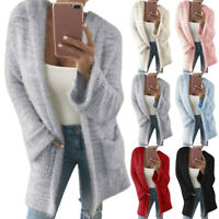 Womens Long Sleeve Knitted Fluffy Cardigan Sweater Pocket Ladies Coat Jacket UK