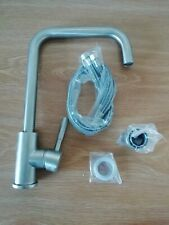 Brushed Stainless Steel Mixer Tap single lever-swivel spout