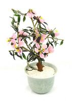 Vintage Chinese Asian Pink Jade Glass Flowering Blossom Bonsai Tree